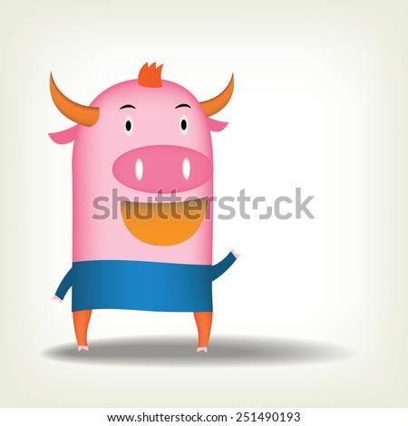 Ping buffalo cartoon design  - stock vector