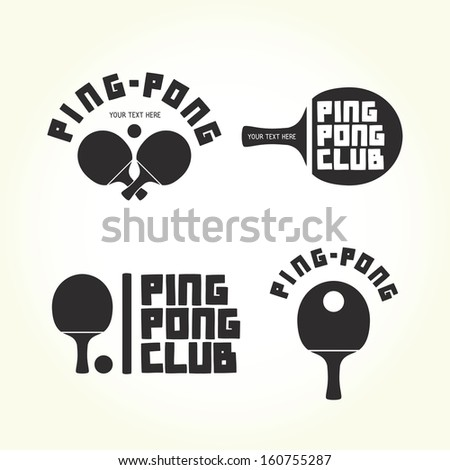 Ping-pong club isolated vector logotypes - stock vector