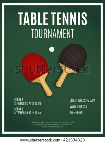 Ping Pong. Table Tennis Tournament. Ping Pong Tournament. Ping Pong equipment. Ping Pong background. Two  Ping pong rackets on green table. Ping Pong Poster Design vector template  - stock vector