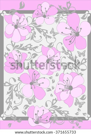 Pink Abstract  floral pattern background - stock vector