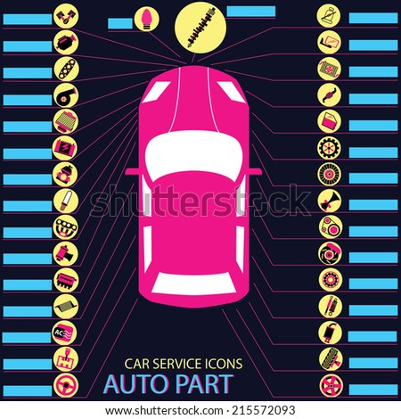 Pink and black car parts icons point to various parts of the car on dark backgrounds. - stock vector