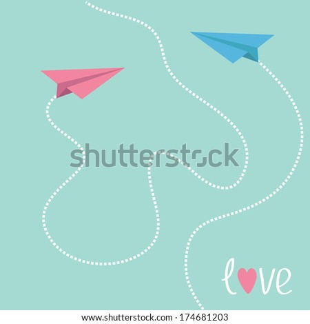 Pink and blue origami paper planes. Dash heart in the sky. Love card. Vector illustration. - stock vector