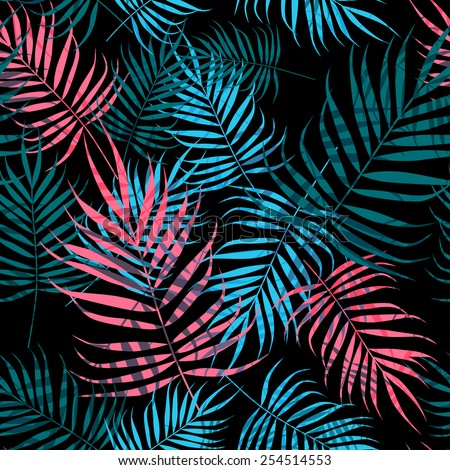 Pink and blue palm tree foliage on black background - stock vector