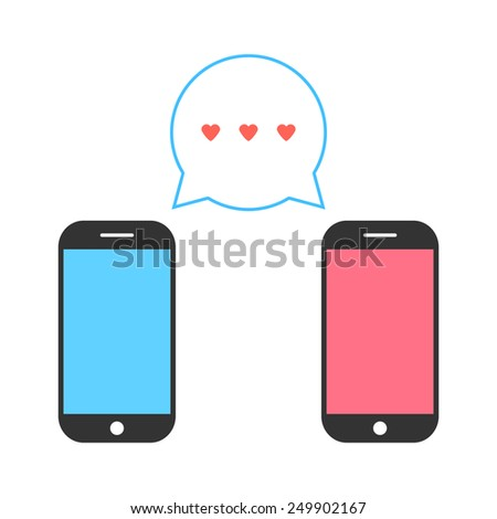 pink and blue smartphones with double speech bubble. concept of billet-doux, electronic mail, romantic penpals. isolated on white background. flat style trendy modern logo design vector illustration - stock vector