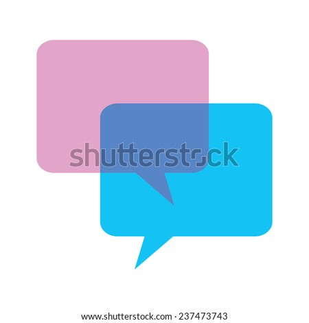Pink and blue speech bubbles, vector illustration - stock vector