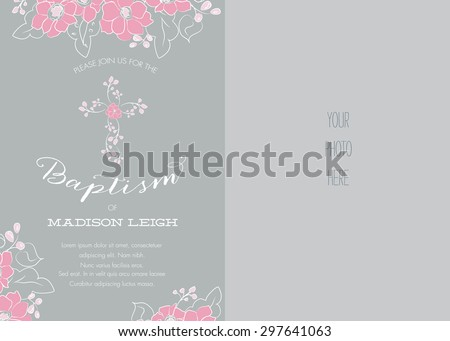Pink and Gray Girl's Baptism/Christening/First Communion/Confirmation Invitation with Abstract Floral Design - Vector - stock vector