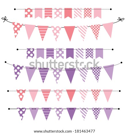 Pink and purple blank banner, bunting or swag templates for scrapbooking  parties, spring, Easter, baby showers and sales, on transparent background, in vector format - stock vector