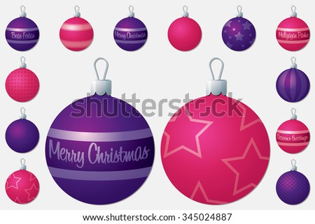 Pink and purple Christmas bauble set in vector format. - stock vector