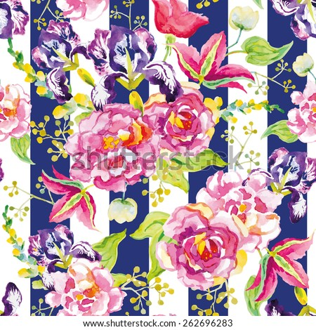 Pink and violet flowers with green leaves and floral elements on the striped background. Watercolor seamless pattern with summer flowers. Roses, irises and clematis. - stock vector