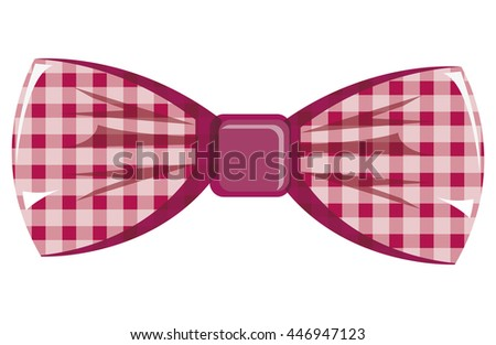 pink and white  bow tie front view over isolated background, hipster fashion concept, vector illustration  - stock vector