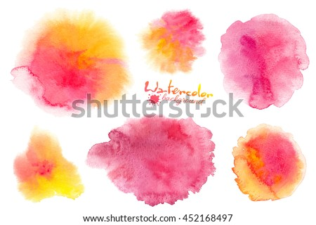 Pink and yellow watercolor splashes vector backgrounds set isolated on white - stock vector