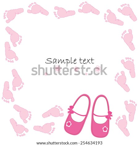 Pink baby shoes baby arrival card vector  - stock vector