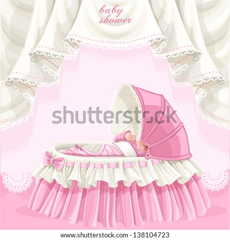 Pink baby shower card with cute little baby in the crib - stock vector