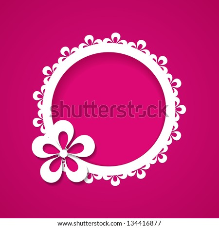 pink background with a floral frame - stock vector