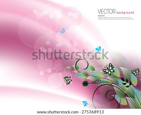Pink Background with Bright Leaves and Butterflies. - stock vector