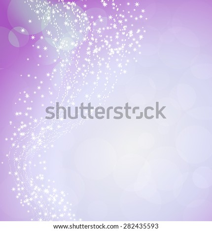 pink background with flying stars - stock vector
