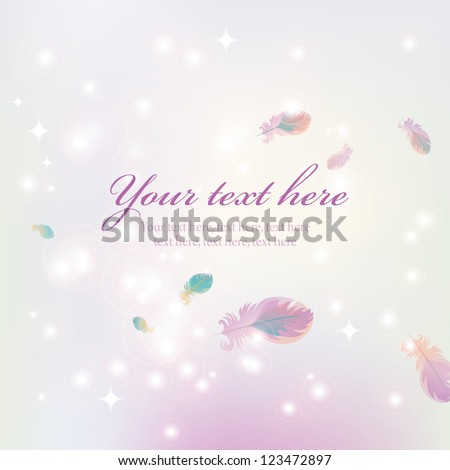 pink background with purple highlights and feathers flying in the wind - stock vector