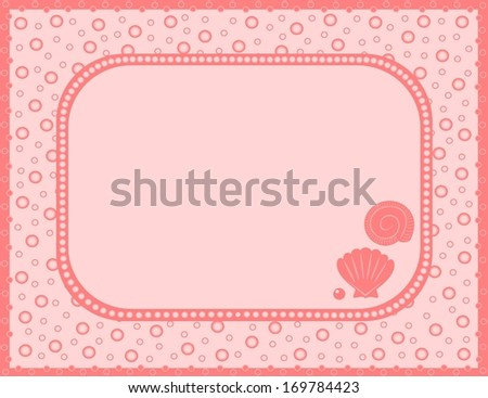 Pink background with shells (vector) - stock vector