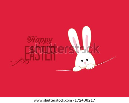 Pink background with white Easter rabbit - stock vector