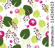 Pink berry seamless background with green leaves - stock vector
