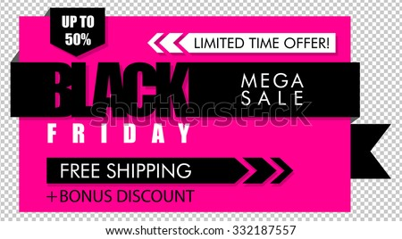 Pink black Friday sale banner - stock vector