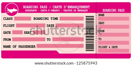 Pink boarding pass. Flight coupon vector illustration. - stock vector