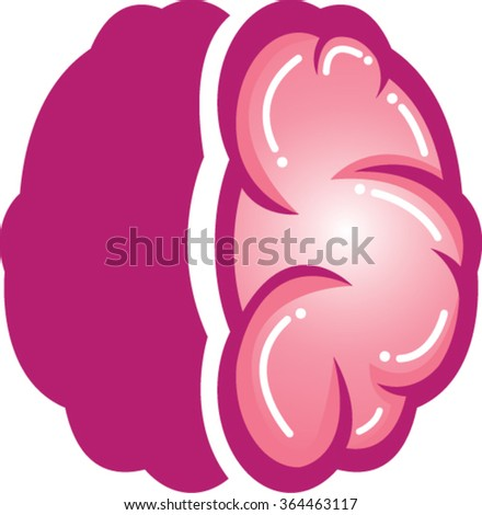 Pink brains outline vector illustration | Vector Illustration of Brain in Pink Color | Brain Symbol  - stock vector