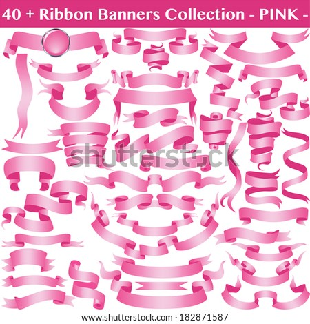 Pink Cancer Ribbon Banners Collection Isolated on White. Vector - stock vector