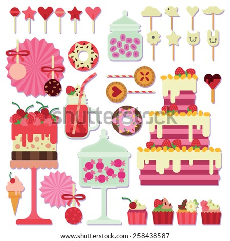 pink candy bar with different sweets on a white background - stock vector