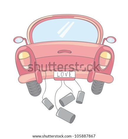 pink car cartoon over white background. vector illustration - stock vector