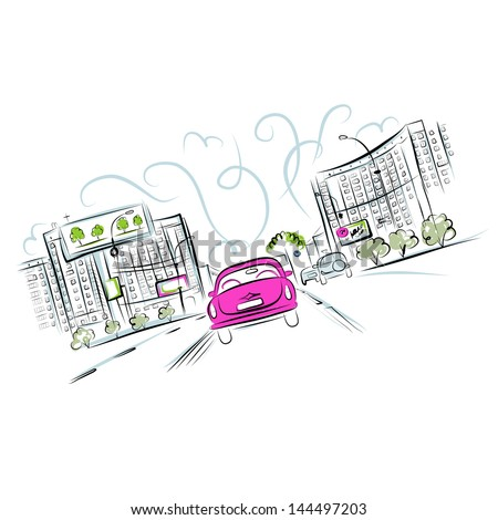 Pink car on the city road for your design - stock vector
