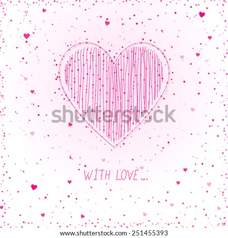 pink card with heart - stock vector