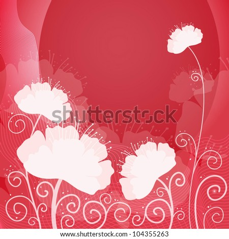 pink card with poppies, the vector - stock vector
