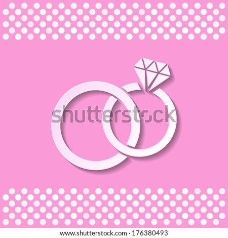Pink card with white wedding rings with shadow - stock vector