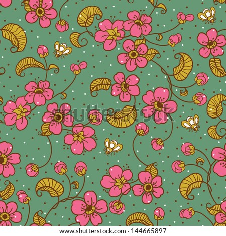 Pink Cherry Blossom Floral Seamless Pattern.Copy that square to the side and you'll get seamlessly tiling pattern which gives the resulting image ability to be repeated or tiled without visible seams - stock vector
