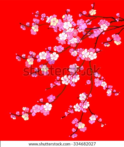 pink Cherry blossom, sakura flowers isolated on red background. Vector Illustration - stock vector