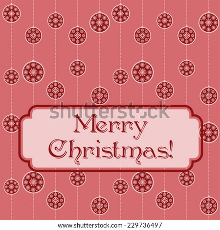 Pink Christmas baubles funky retro background  - stock vector