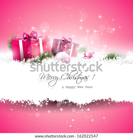Pink Christmas greeting card with gift boxes and branches in snow and with place for text - stock vector