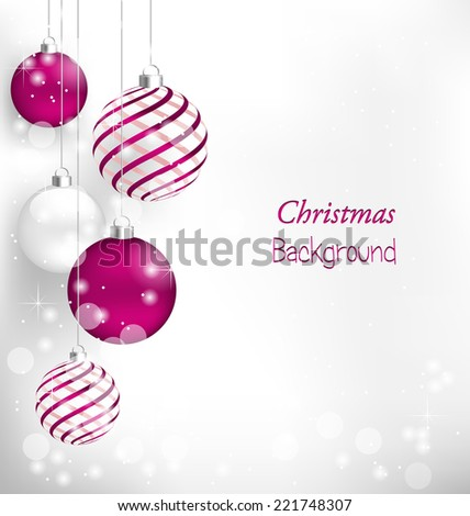 Pink Christmas spiral balls hang in snowfall - stock vector