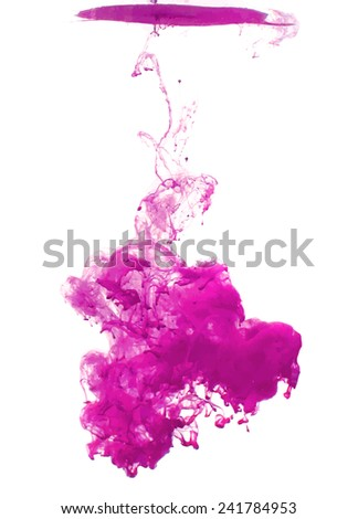 Pink cloud of ink swirling in water. Abstract background - stock vector