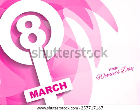 Pink color stylish greeting card design for women's day. Vector illustration  - stock vector