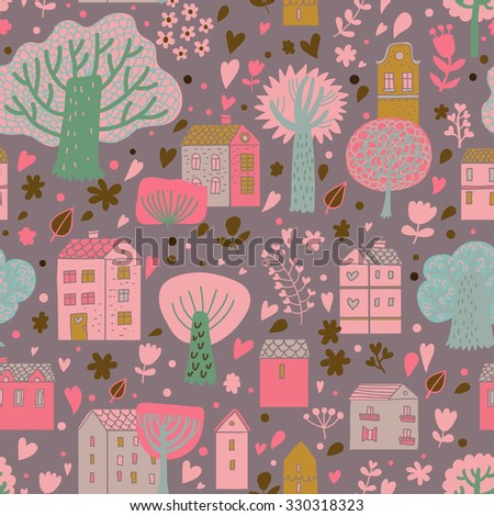 Pink colored cartoon urban seamless pattern. Cute houses and trees on bright background in vector. Seamless pattern can be used for wallpaper, pattern fills, web page background, surface textures - stock vector