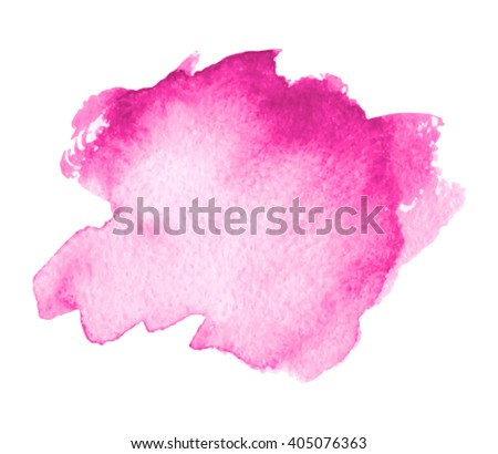 Pink colorful watercolor hand drawn stroke isolated paper grain texture stain on white background for design, decoration. Abstract artistic shape vector element.  - stock vector
