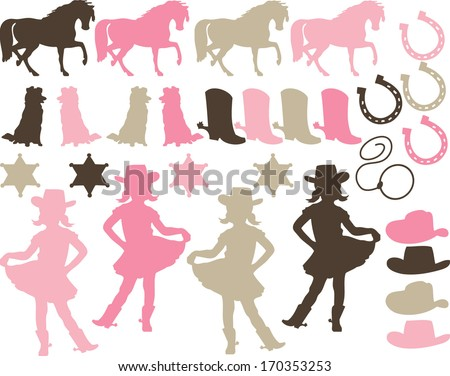 Pink Cowgirl Silhouettes - stock vector