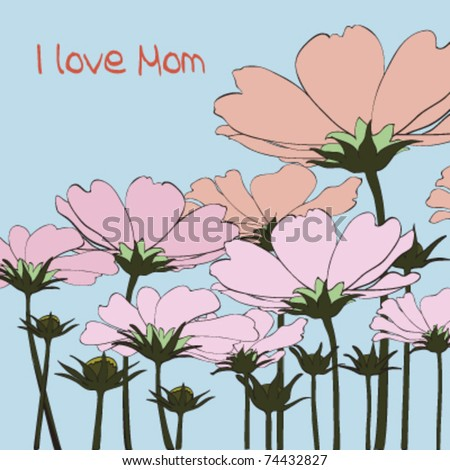 pink daisy on bright blue background, vector - stock vector