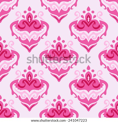 Pink damask floral design. seamless vector pattern - stock vector