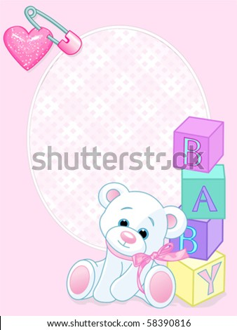 "Pink design with Teddy Bear and word ""baby"" spelled out by blocks. Arrival card - stock vector"