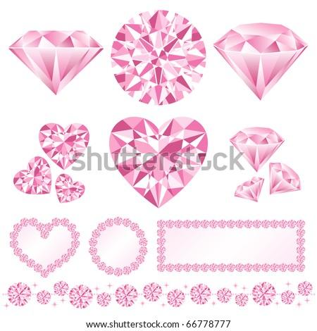 pink diamond decoration - stock vector