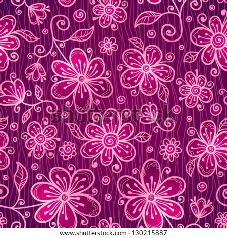 Pink doodle flowers seamless pattern - stock vector