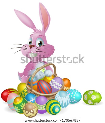 Pink Easter bunny rabbit with Easter eggs basket full of chocolate decorated Easter eggs - stock vector